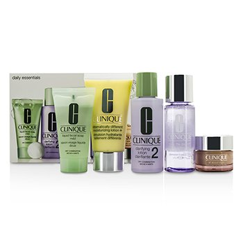 Clinique Daily Essentials Set (Dry Combination): All About Eyes 15ml + Liquid Soap 30ml + MakeUp Remover 50ml + Clarifying Lotion 2 60ml + DDML+ 50ml