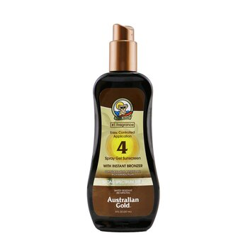 Australian Gold Spray Gel Sunscreen Broad Spectrum SPF 4 with Instant Bronzer
