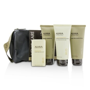 Ahava Mens Care Set: Shaving Cream 100ml + Mineral Shower Gel 100ml + Dermud Intensive Foot Cream 100ml + Purifying Mud Soap 100g