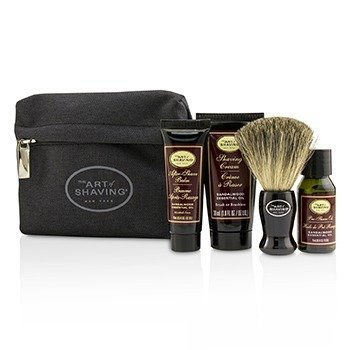 The Art Of Shaving Starter Kit - Sandalwood: Pre Shave Oil + Shaving Cream + After Shave Balm + Brush + Bag