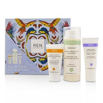Ren All Is Calm All Is Bright Set:  Day Cream 50ml + Mask 15ml + Firming Gel-Serum 10ml