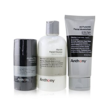 Anthony Basic Kit With Alcohol Free Deodorant: Cleanser 237ml + Moisturizer 90ml + Deodorant 70g